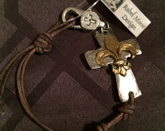 Leather Cord Bracelet with Medieval Rock & Roll Hammered Silver Tone Pewter Fleur de Lis Cross and Imprinted Clasp