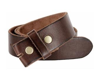 Genuine Dark Brown Leather Snap Belt Strap Men's sizes 32 34 36 38 S M L XL - Change your belt buckle - removable - snap on - handmade
