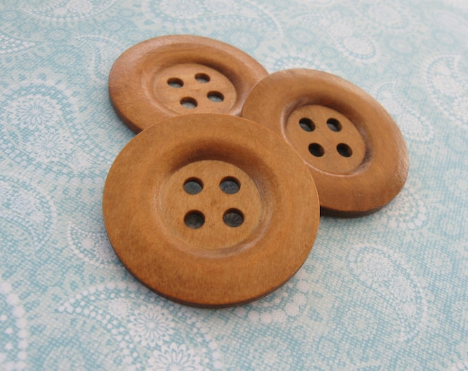 "Featured listing image: Extra large button - 3 wooden buttons 50mm (2"")  (BB151C)"