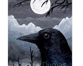 Fridge Magnet Print ACEO Bird 58 Crow Raven Moon art painting by Lucie Dumas