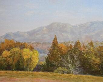 Mt. Diablo North Peak View from Las Juntas Park, Pleasant Hill, CA, Original Oil Painting
