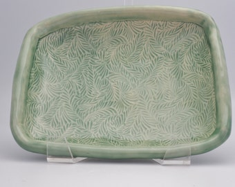 Ceramic Serving Bowl - Footed Serving Bowl - Stoneware Bowl - Green Serving Bowl - Unique Pottery  Bowl - Great Hostess Gift