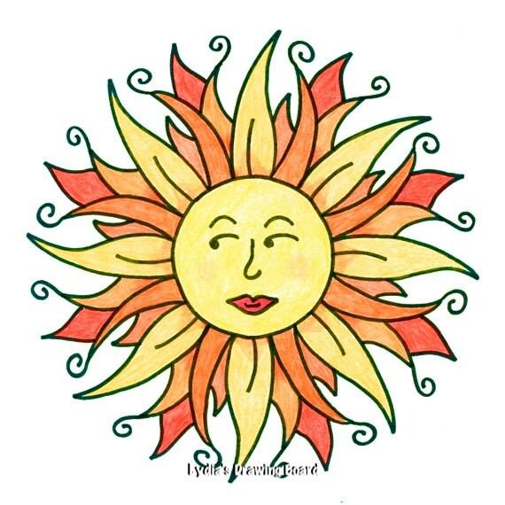 Note Cards, Notecards, Blank Cards, Birthday Card, Thank You Cards, Cards, Sun Art, Sun Print, Whimsical Art, Sun Wall Art, Sun Wall Decor