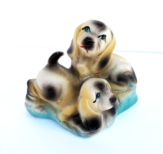 Vintage 1970's Pair of Dogs Ceramic Figurine - Kitschy and Sweet