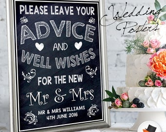 Personalised Wedding Sign Poster Please Leave Your Advice And Well Wishes For The New Mr And Mrs Chalkboard Style Guest Book Accessory