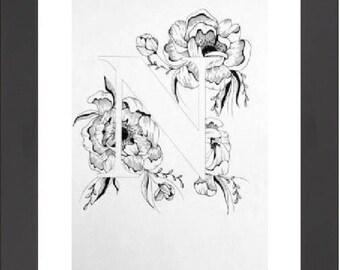 Illustrated 'N' initial print