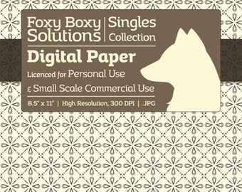 Decorative Diamonds - Single Sheet in Tan on a Cream Background - Printable Scrapbooking Paper, Crafting Supply