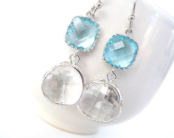 Aquamarine and crystal glass earrings Silver bridesmaid earring Aqua bridesmaid jewelry Aqua blue earring Aqua earring Crystal clear earring