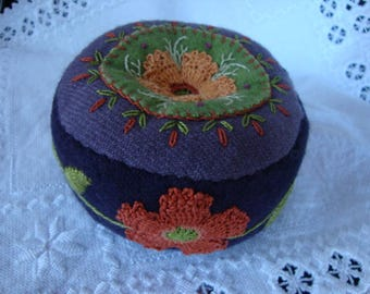Eggplant and Russet shades pincushion