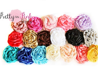 LARGE Isabella Collection Ruffled Rosettes- You Choose Quantity- Rolled Rosettes- Rosettes- Flower- Supply- DIY Headbands- Rose