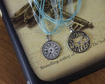 Vintage watch pendant.  Silver clock charms necklace. Blue  watch necklace.