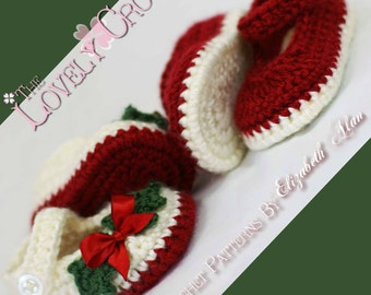 Christmas Booties Crochet PATTERN Christmas for Baby Holly Shoes digital