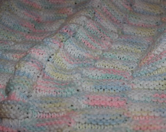 Baby Afghan - Hand Knitted Baby Afghan - Baby Blanket - Knit Baby Afghan - Knit Blanket - Baby Coverlet - Knitted Baby Blanket