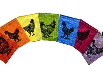 Bless the Girls Chicken Flags (made with hand carved block prints) Prayer Flags (small)