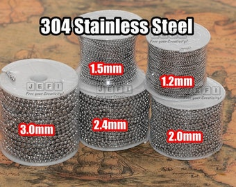 Bulk Spool 20 Meters 304 Stainless Steel Beaded Chain- 1.2mm / 1.5mm / 2.0mm / 2.4mm / 3.0mm