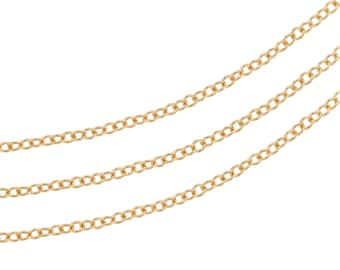 14Kt Gold Filled 1mm Cable Chain - 5ft Strong and Heavy chain Made in USA 10% discounted Lowest Price (5453-5)/1