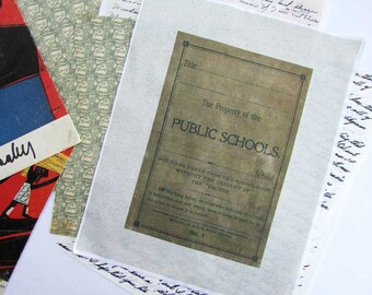 Cotton Fabric Panel with Vintage Time Worn Public Schools Book Cover in Khaki & Black for Quilting, Sewing, Scrapping Projects, Fabrics