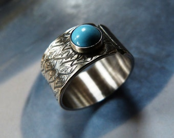 Turquoise silver ring, rustic, adjustable statement ring, textured metalwork ring, OOAK, gift for wife, gift for mother, 40th birthday