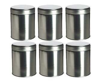 6 pcs, Wide Tea Tin Containers with Twistlug Lids