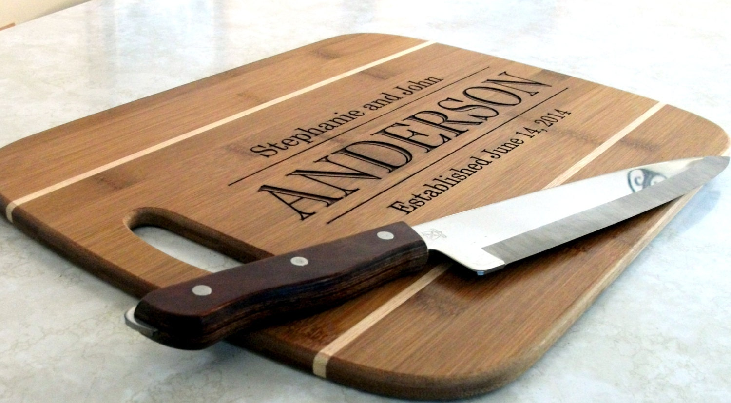 custom family name sign cutting board cheese board engraved