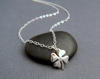 """silver four leaf clover necklace. sterling silver lucky charm. st saint patricks day jewelry. sterling good luck shamrock simple. 3/8"""""""