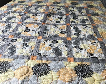 Orange & Gray Baby Quilt, Throw Quilt, or Wall Hanging
