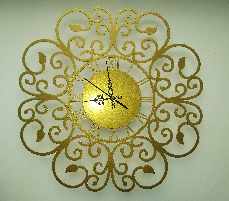 Gold clock Office wall clock Metal wall clock Vintage metal