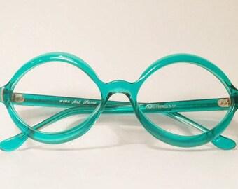 New Old Stock, Vintage Mod Artline Sunglasses Frames, NOS, Teal Blue Translucent Frames, 1960s Artline Mira Frames, Green Round Oval Cateye