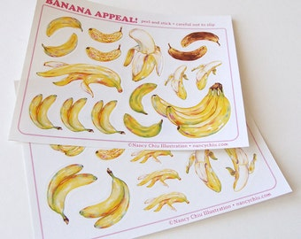 """Stickers - """"Banana Appeal"""" - fun cute stationery tropical banana unique stickers"""