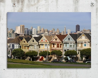 Painted Ladies - Cityscape, Historic, Photography - San Francisco, CA - Fine Art  Print - Canvas Gallery Wrap - Metal Print