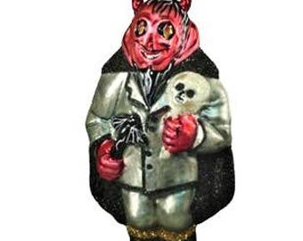Halloween Christmas ornament devil beware, glass from Poland