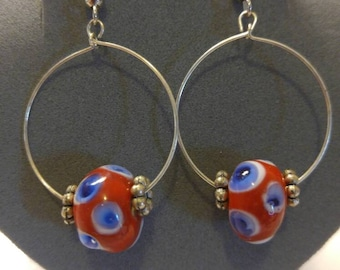 Silver hoops with red,white and blue ceramic beads