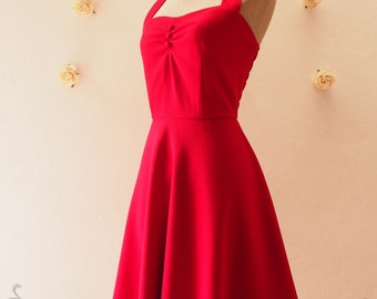 Christmas Dress Bachelorette Party Red Vintage Bridesmaid Dress Red Summer Dress Halter Dress 50's Dress Retro Tea Length, XS-XL,custom