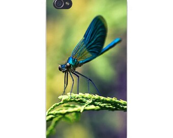 Apple iPhone Custom Case White Plastic Snap on - Dragon Fly Closeup Perched on Plant 8119