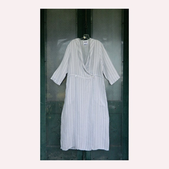 FLAX Engelhart Underflax Robe -1G/1X- Pale Blue Stripe Linen NWOT