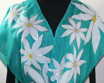 Teal Silk Scarf. White Hand Painted Silk Shawl. Handmade Silk Scarf WHITE DAISIES. Size 11x60. Birthday, Bridesmaid Gift. Gift-Wrapped.