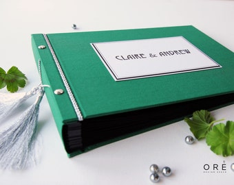 Green Color Guest Book, Pockets And Cards To Write,Personalised Guest Book, From OreDesignSpace