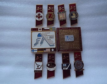 USSR badge, pins hockey medal 1991. Set.