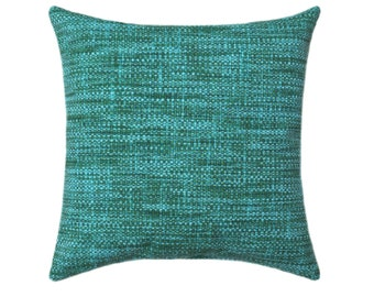 Indoor Outdoor Pillow Covers - ANY SIZE - Outdoor Decorative Pillows,  Turquoise Deck Pillow Richloom Outdoor Remi Lagoon Pillow Cover
