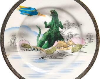 Godzilla Attacks - Vintage Porcelain Plate - Fuji- #0594