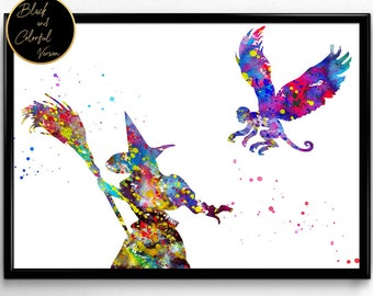 Wizard of Oz, Evil Witch and Flying Monkey, For Children,Tale, Watercolor, gift, Print, Wall Art (60)