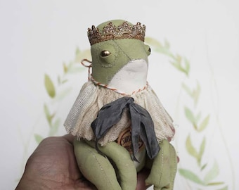 Fairytale Textile Art Doll Frog OOAK Primitive Folk Art Doll Softsculpture with crown