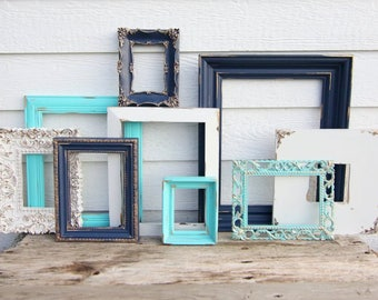 SALE Set of 9 Gold, Navy Blue, Turquoise, White - Open Frames - White Frames - Nursery Frames -Wedding Frames - Ornate, Oval, Vintage Frames