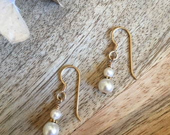 Cream Swarovski Pearl Drop Earrings - Gold Filled Wires - Bali - Wire Wrapped