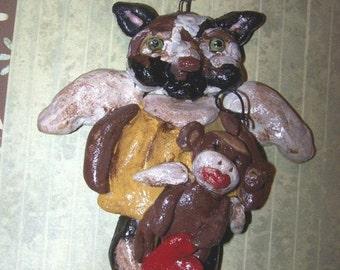 Folk Art Cat Angel Sock Monkey Ornament Ornie Vintage