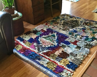 Moroccan Berber Area Rug, Handwoven Vintage Rag Rug, Boucherouite Rugs, Eco Friendly, Anthropology, Boho Eclectic Textile Art, Recycled Rug