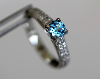 CLEARANCE  Enchanting Swiss Blue Topaz Round in a Pave Sterling Silver Ring