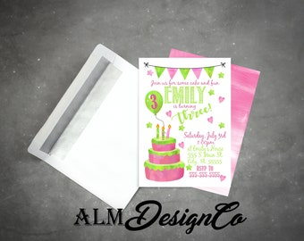 Pink and Lime Green Birthday Invitations - Girls birthday invitation - pink birthday invitations - lime green birthday invitations