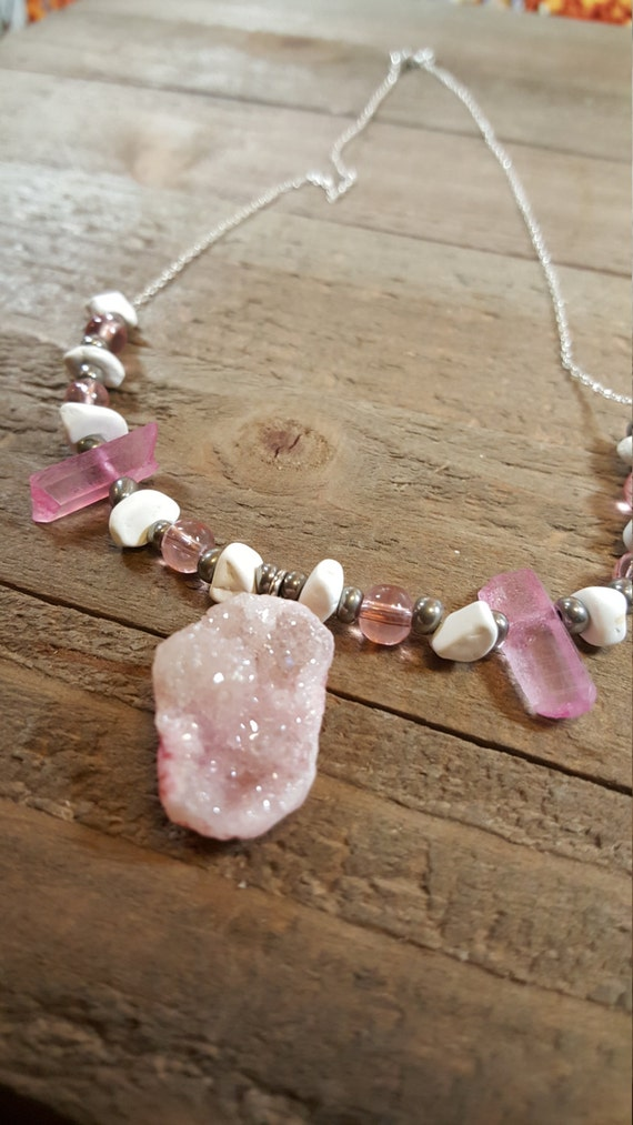 Pink Crystal Stone Gem Rock Crystal Necklace Silver Beaded Chain Earth Jewelry