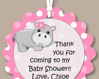 Hippo Baby Shower or Birthday Party Favor Tags - GIFT TAGS